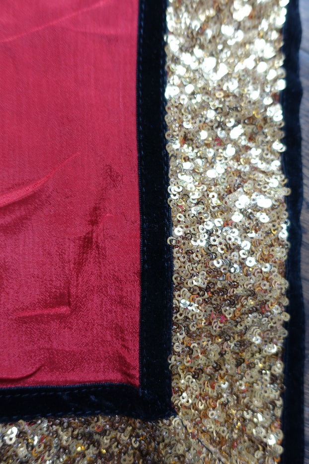 Red Silk With Gold Sequin And Black Velvet Trim - New - Indian Suit Company