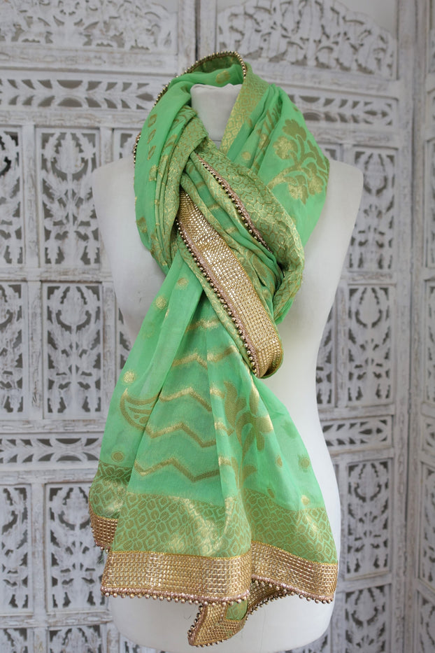 Green Banarsi & Gold Large Scarf - New - Indian Suit Company