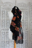 Black Embroidered Heavy Chiffon Scarf - New - Indian Suit Company