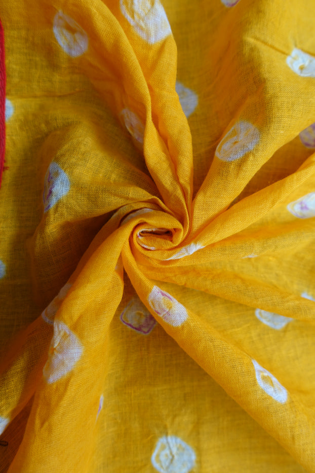 Saffron Yellow Cotton Bandhani Pom Pom Scarf - New - Indian Suit Company