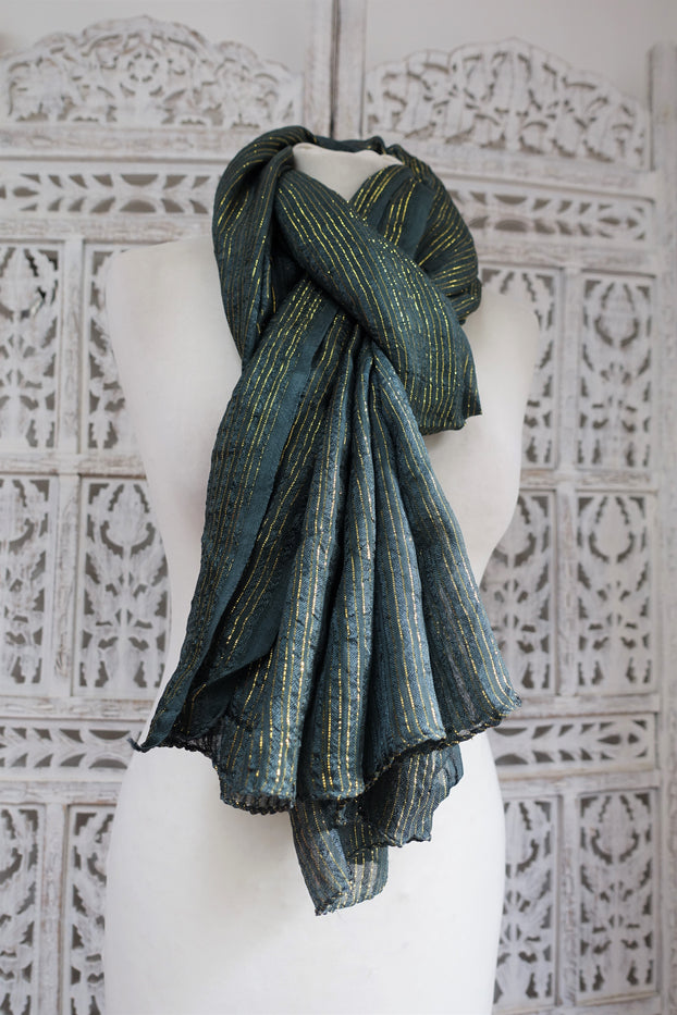 Dark Greeny Blue With Metallic Gold Thread Scarf - New - Indian Suit Company