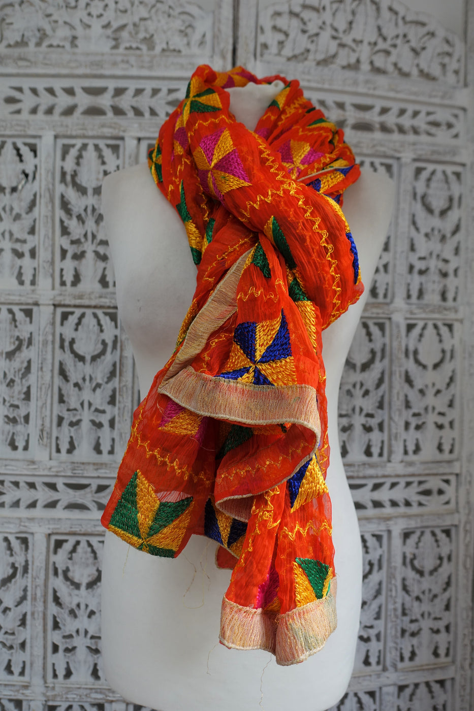 Bright Orange Phulkari Chiffon Scarf - New - Indian Suit Company
