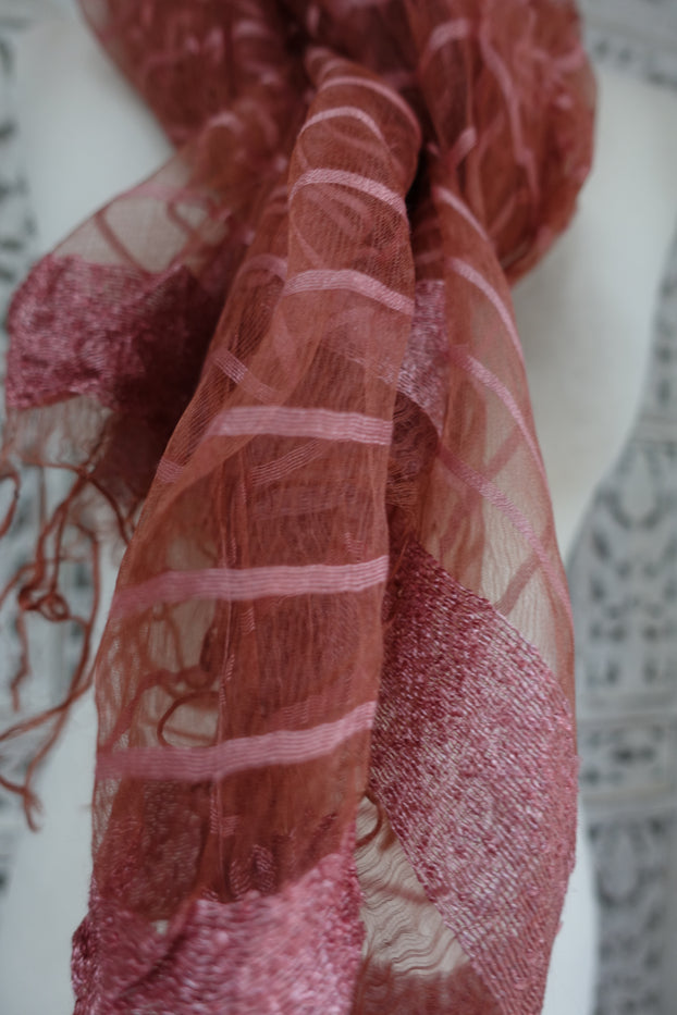 Dark Peach And Pink Silk Thread Scarf - Preloved - Indian Suit Company
