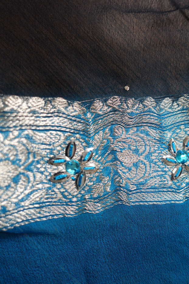 Blue & Black Zari Silver Vintage Scarf - New - Indian Suit Company
