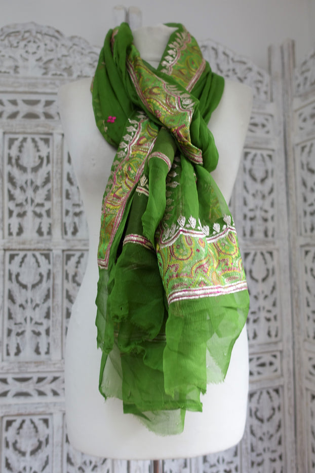 Green Silk Chiffon Vintage Scarf - New - Indian Suit Company