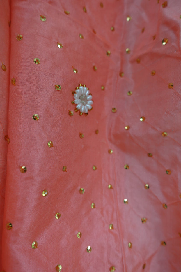 Peach Silk Vintage Scarf - New - Indian Suit Company