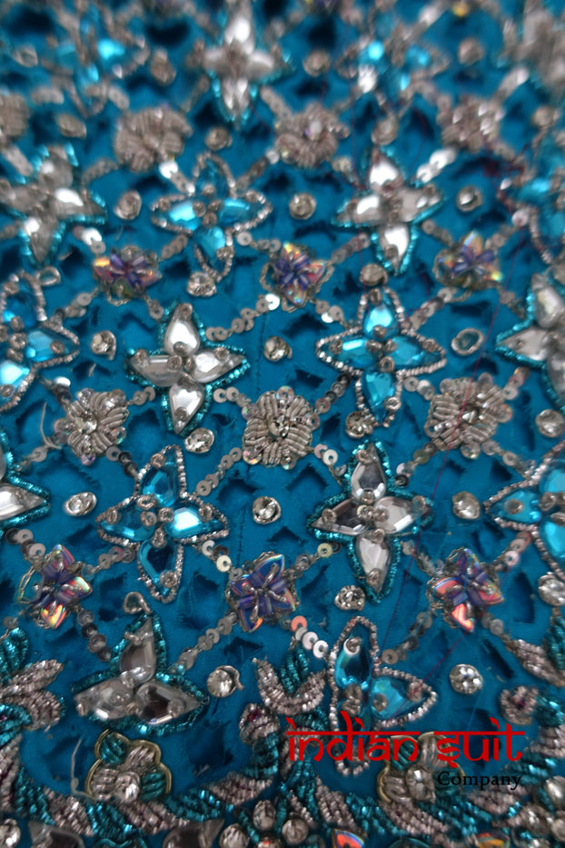 Heavy Indian Diamante Studded Lengha Skirt Craft Fabric Silk - Indian Suit Company
