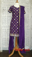 Purple banarsi silk salwar kameez - UK Size 10 /EU Size 36 - preloved