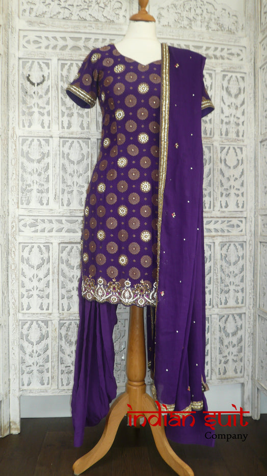 Purple Banarsi Silk Salwar Kameez - UK Size 10 / EU 36 - Preloved - Indian Suit Company