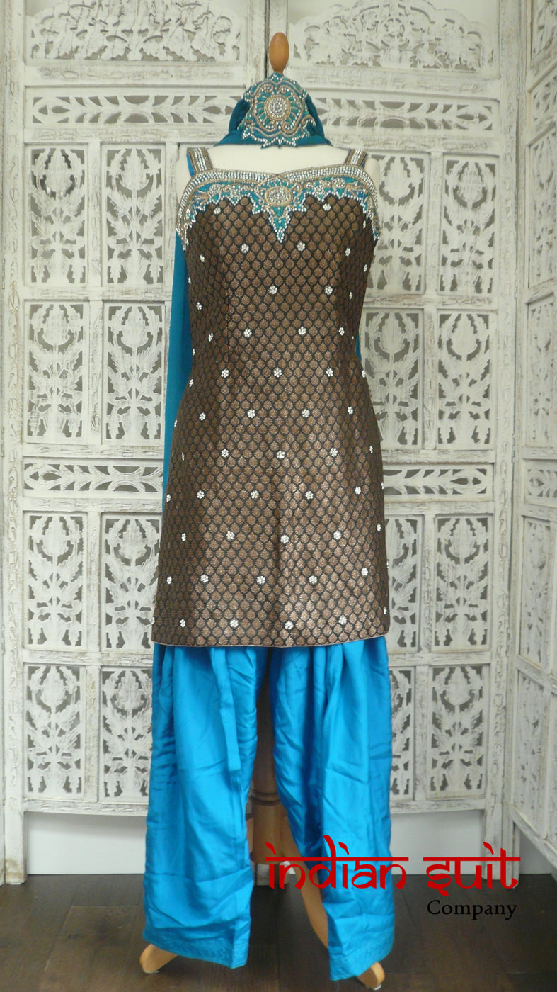 Black Banarsi Brocade & Silk Salwar Kameez - UK 10 / EU 36 - Preloved - Indian Suit Company