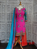 Pink, orange & blue chiffon salwar kameez – UK 12 / EUR 38 - preloved
