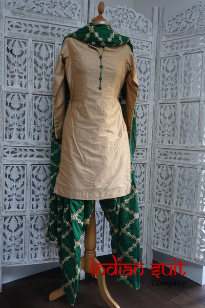 Cream & Green Gold Braid Salwar Kameez - UK 8  / EU 34,  - Preloved - Indian Suit Company