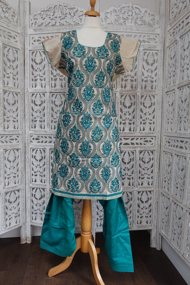 Cream & Teal Embroidered Salwar Kameez UK 16 / EU 42 - Preloved - Indian Suit Company