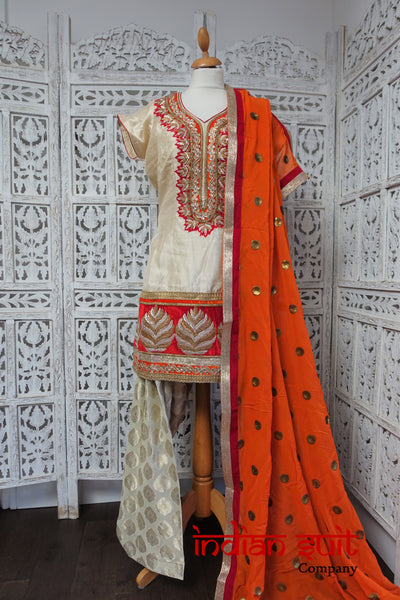 Cream & Orange Silk Punjabi Salwar Kameez UK 14 / EU 38 - New - Indian Suit Company