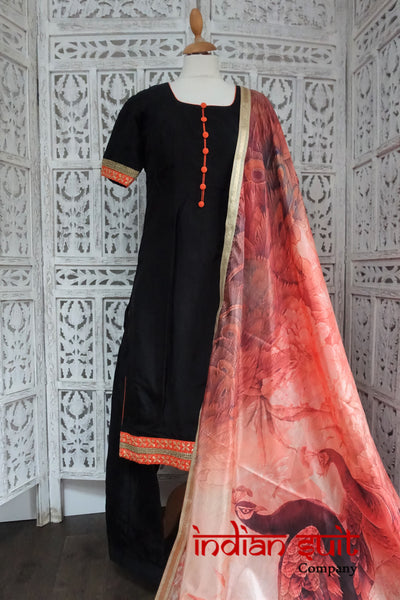 Black Crepe Silk Punjabi Salwar Kameez UK 10  / EU 36,  - Preloved - Indian Suit Company