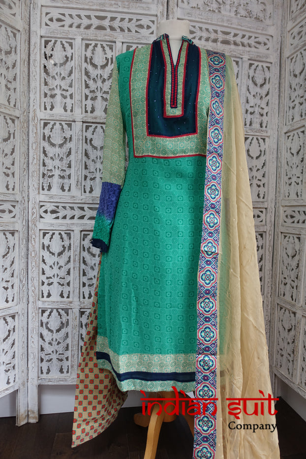 Colourful Geometric Printed Salwar Suit UK Size 14 / EU 40 - Preloved - Indian Suit Company
