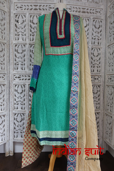 Colourful Geometric Printed Salwar Suit UK 14 / EU 40,  - Preloved - Indian Suit Company