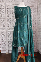 Green Silk Indian Salwar Kameez UK 12 / EU 38 - Preloved - Indian Suit Company