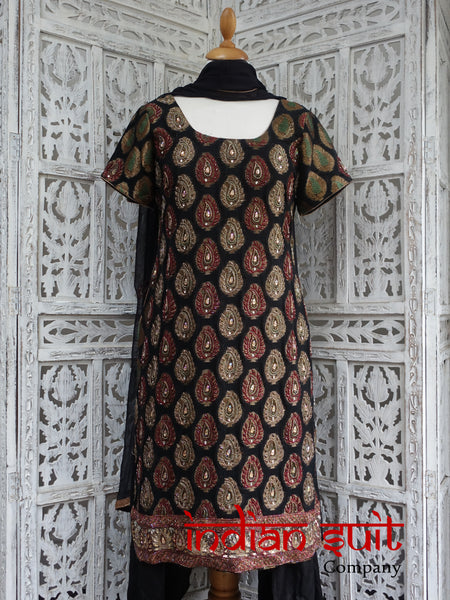 Black Banarsi Paisley Salwar Kameez - UK 12 / EU 38 - Preloved - Indian Suit Company