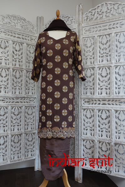 Brown Diamante Studded Salwar Kameez - UK 20 / EU 46,  - Preloved - Indian Suit Company