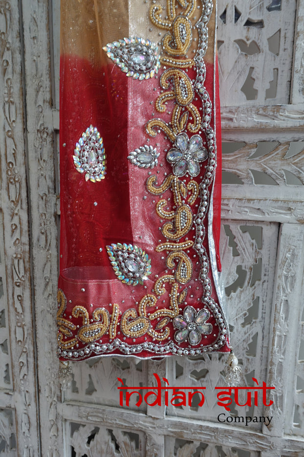 Caramel & Red Banarsi Chiffon Salwar Kameez - UK Size 20 / EU 46 - Preloved - Indian Suit Company