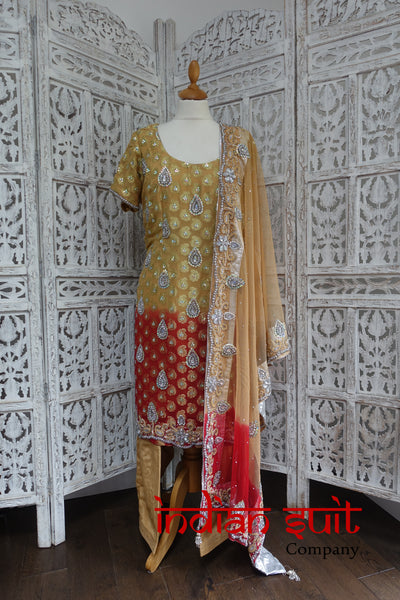 Caramel & Red Banarsi Chiffon Salwar Kameez - UK 20 / EU 46,  - Preloved - Indian Suit Company