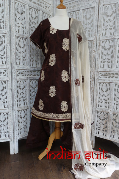 Brown & Cream Salwar Kameez - UK 20 / EU 46,  - Preloved - Indian Suit Company