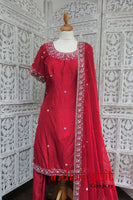 Red Silk Salwar Suit - UK Size 12 / EU  38 - Preloved