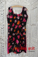 Black silk printed salwar kameez - preloved  – Size UK 10 /EU 36