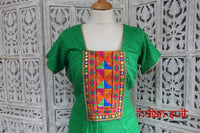 Green Cotton Phulkari Salwar Kameez - UK 16 / EU 42,  - Preloved - Indian Suit Company