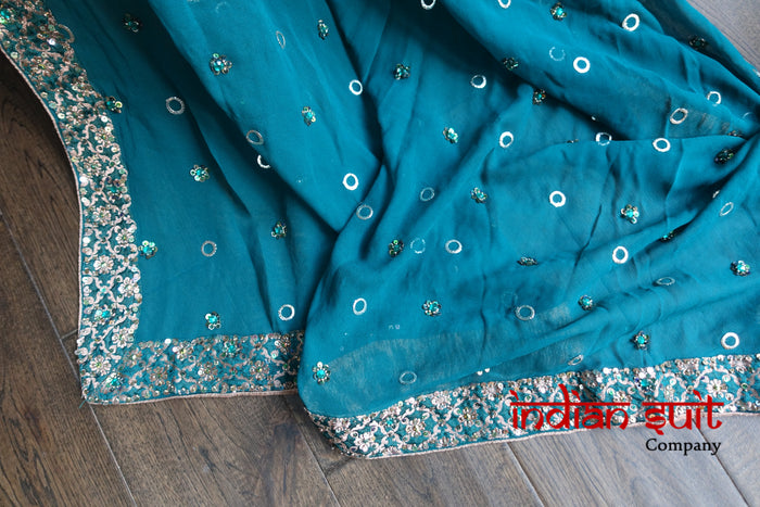 Teal Banarsi & Silk Salwar Kameez UK Size 10 / EU 36 - Preloved - Indian Suit Company