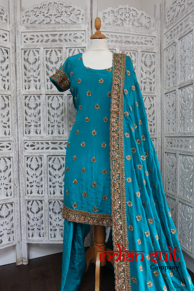 Teal Silk Punjabi Salwar Kameez UK 10 / EU 36 - Preloved - Indian Suit Company