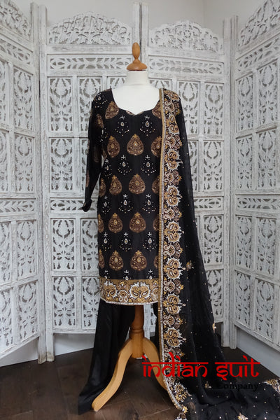 Black Banarsi Salwar Kameez UK 24 / EU 50,  - Preloved - Indian Suit Company