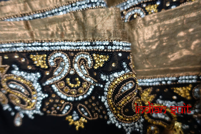 Black Banarsi Salwar Kameez UK 24 / EU 50 - Preloved - Indian Suit Company