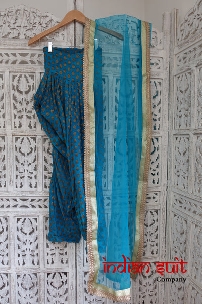 Blue Silk & Dupatta Salwar Kameez - Free Size - Preloved - Indian Suit Company