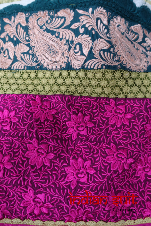 Green & Pink Cotton Salwar Suit - UK 12 / EU 38 - Preloved - Indian Suit Company