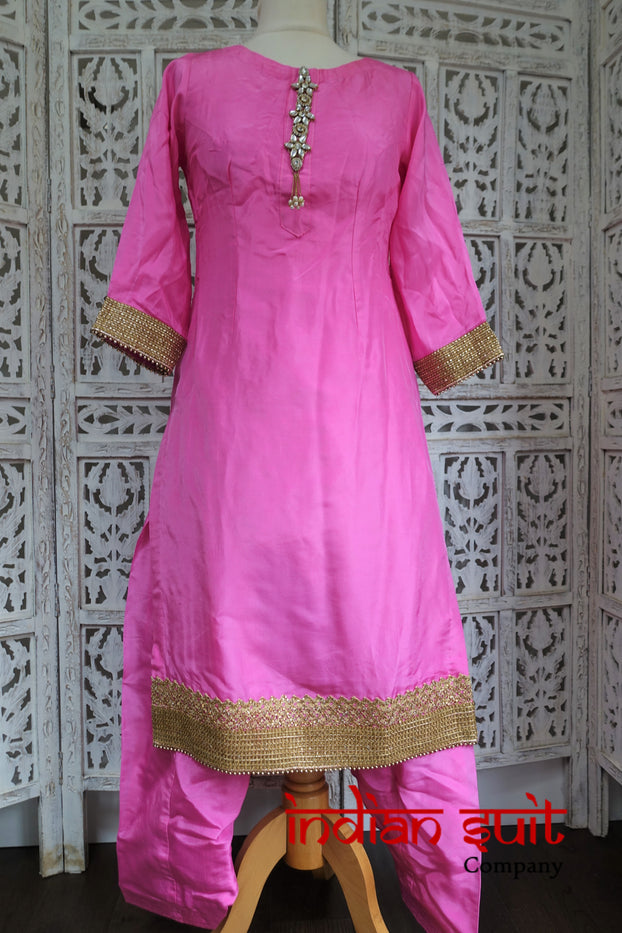 Pink Crepe Silk Salwar Kameez - UK 6 / EU 32 - Preloved - Indian Suit Company