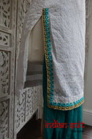 White & Jade Salwar Kameez - UK 8 / EU 34 - Preloved - Indian Suit Company