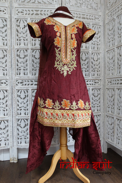 Brown Salwar Kameez - UK 12 / EU 38 - Preloved - Indian Suit Company