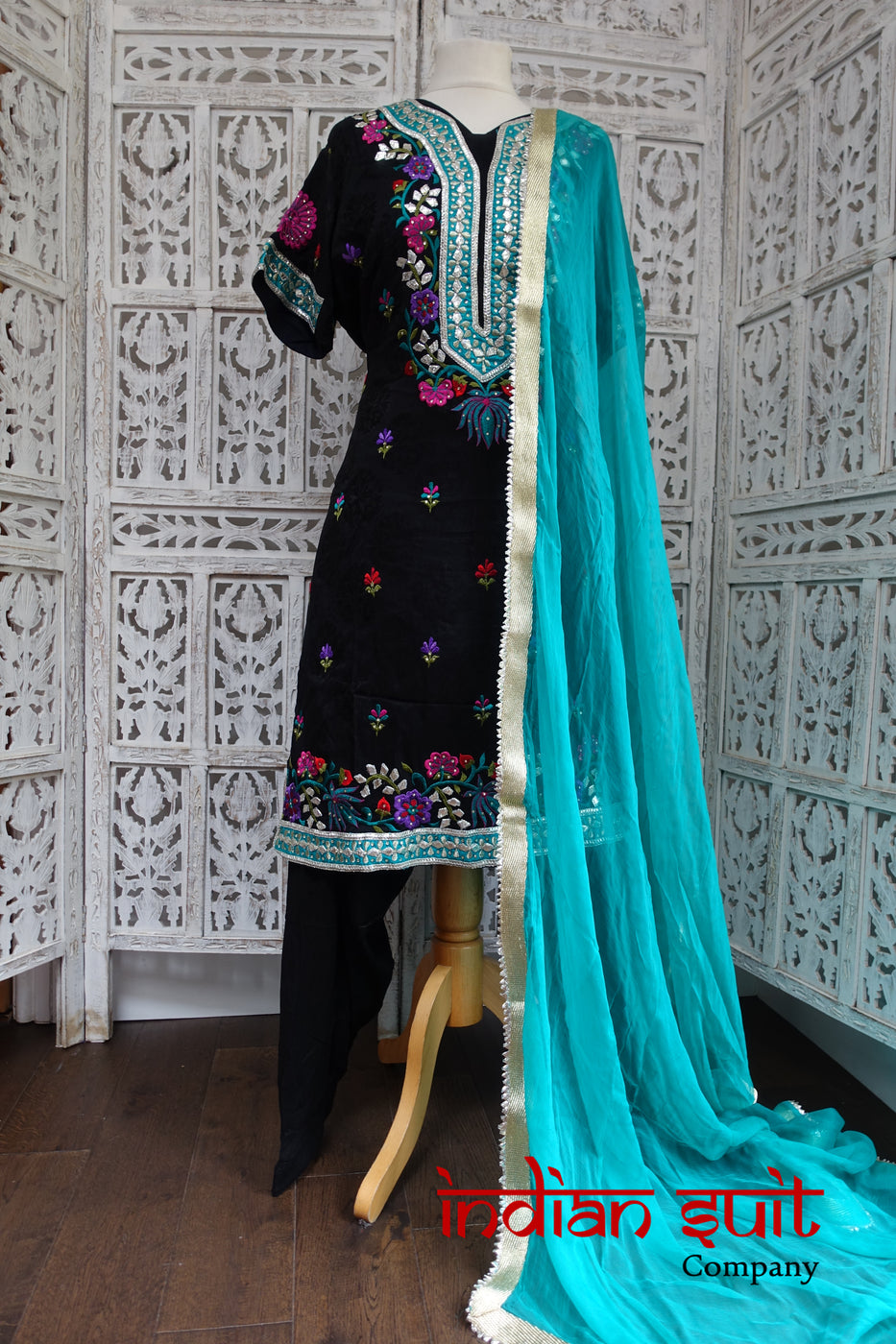 Black & Blue Salwar Kameez -UK 20 / EU 46 - Preloved - Indian Suit Company