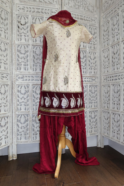 Cream & Maroon Salwar Kameez - UK Size 10 - Preloved - Indian Suit Company