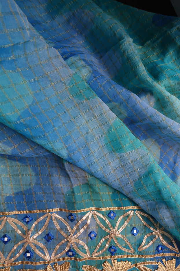 Blue Silk Gota Patti Salwar Kameez - UK 10 / EU 36 - New - Indian Suit Company