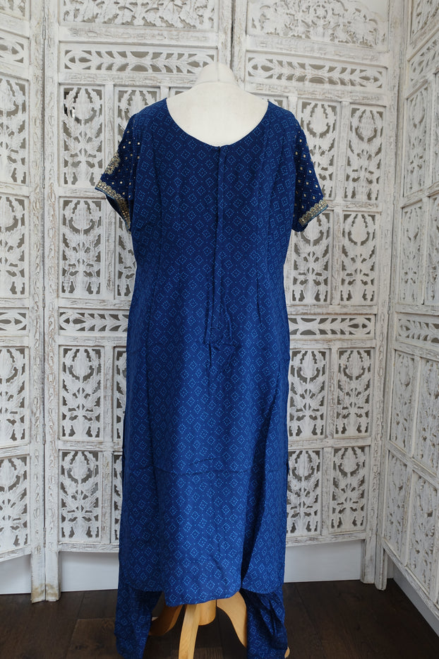 Blue Silk Bandhani Print Salwar Kameez - UK 16 / EU 42 - Preloved - Indian Suit Company