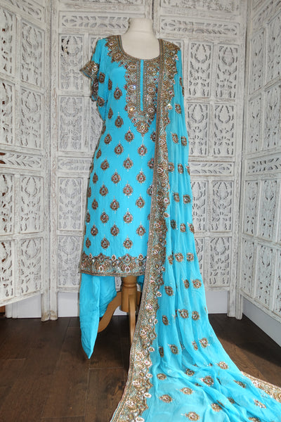 Blue Silk Salwar Kameez - UK 24 / EU 50,  - Preloved - Indian Suit Company