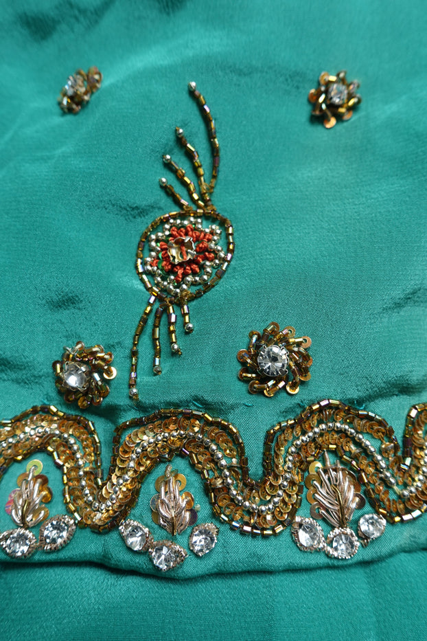 Green Brocade & Silk Suit - UK 8 / EU 34 - Preloved - Indian Suit Company
