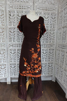 Brown Embroidered Patiala Salwar- UK 14 / EU 40 - Preloved - Indian Suit Company
