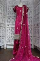 Vivid Fushia Pink Sateen Silk Salwar Suit - UK 20 / EU 46 - Preloved - Indian Suit Company