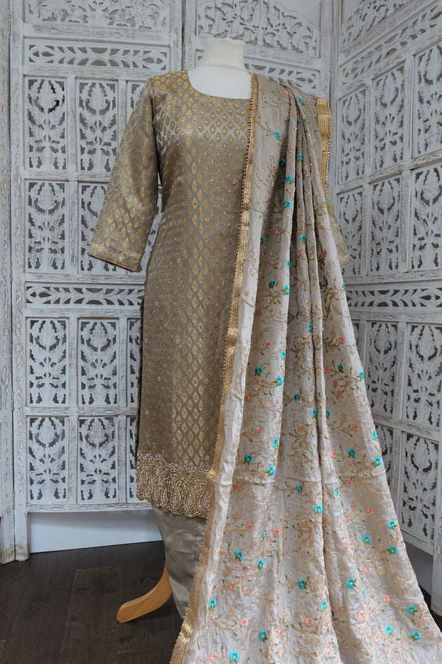 Taupe Brocade Salwar Kameez - UK 12 / EU 38 - New - Indian Suit Company