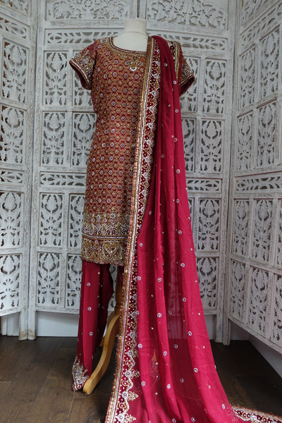 Dark Red Banarsi Brocade Salwar Kameez - UK 12 / EU 38 - Preloved - Indian Suit Company