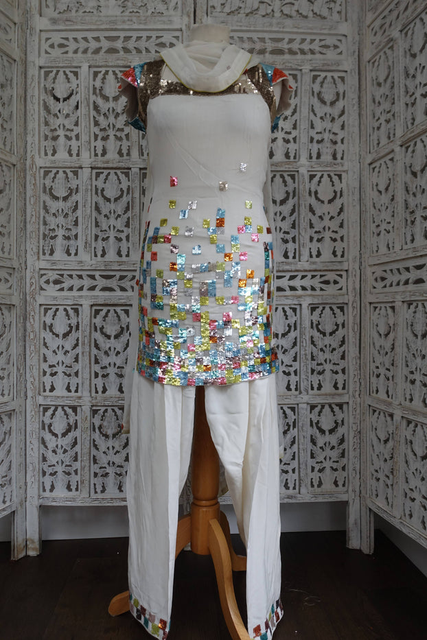 White French Connection Silk Salwar Kameez - UK 6 / EU 32 - Preloved - Indian Suit Company